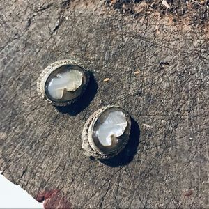 Vintage Jewelry - Vintage European 800 silver cameo clip on earrings